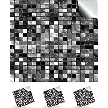 24 Black And White   Printed In 2d Kitchen / Bathroom Tile STICKERS For  150mm (