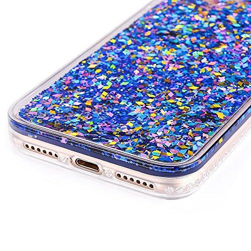 """iPhone 7Plus Hülle, iPhone 7Plus Handytasche, CLTPY 3D Dynamisch Treibsand Flüssige Fließend Glitzer Sparkle Diamant Hartplastik & Soft TPU Hybrid Transparent Schale Case für 5.5"""" Apple iPhone 7Plus ( Blau"""