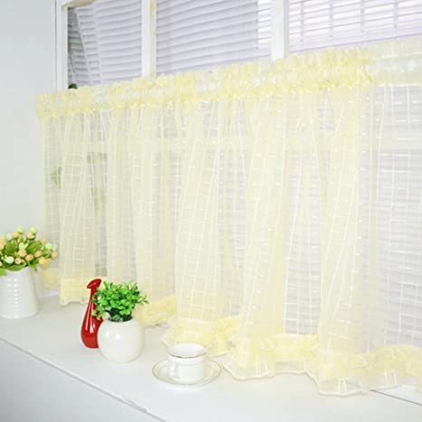 Slot Top Voile Cafe Curtains Kitchen Net Curtains Coffee, 140x60cm ...