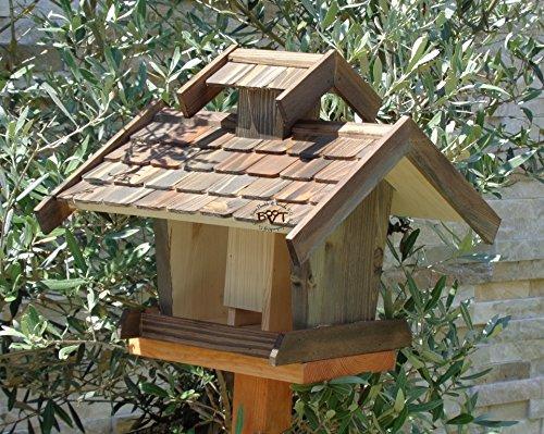 Vogelhäuser mit ständer BTVK-VOVIL4-MS-at001 NEU! PREMIUM-Qualität,Vogelhaus,!!! KOMPLETT mit Ständer !!! wetterfest lasiert, MIT großem SILO, Qualität Schreinerware 100% Massivholz – VOGELFUTTERHAUS MIT FUTTERSCHACHT-Futtersilo Futterstation Farbe schwarz lasiert, anthrazit / Holz natur, Ausführung Naturholz MIT TIEFEM WETTERSCHUTZ-DACH für trockenes Futter - 4