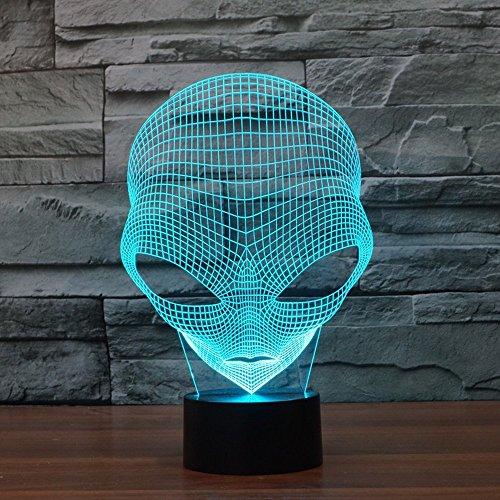 lmeison 3D optische Illusion Schreibtisch Lampe Einzigartige Nacht Licht für Home Decor 7Farben wechseln USB Touch Button LED Tischleuchte–Beste Geschenk für Kinder/Freunde/Geburtstag//Urlaub (Alien)