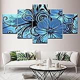 Design PT HD Gedruckt Gemälde Leinwand Wandkunst Gerahmte Wandbild Lila Orchidee 5 Stücke Wohnzimmer Dekoration Modulare Blumen Bilder, 30x40 30x60 30x80 cm, Rahmen