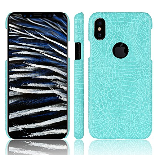 Coque pour iPhone X, iPhone 10, SunFay Etui Rigide PC Solide PU Cuir Slim Mince Simple Anti-Rayures Léger Protection Case Etui Coque pour iPhone X, iPhone 10 - Rouge Bleu-Vert