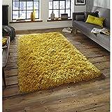 Monte Carlo handgetufteter Shaggy Hochflor Teppich superweich Acryl- & Polyestermatte (verschiedene Farben und Größen), gelb, 60cm x 115cm