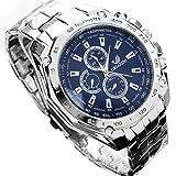 Zuionk Herren Edelstahl Armbanduhren Sportuhr Business Quarzuhr(Blau)