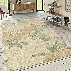 Paco Home Designer Teppich Wohnzimmer Kurzflor Modern Florales Muster Pastellfarben Gelb, Grösse:120x170 cm