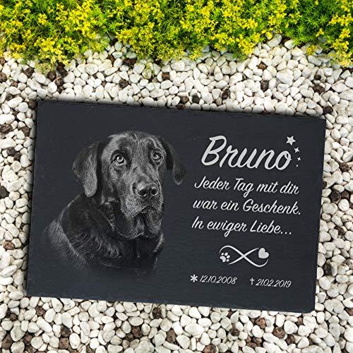 Laserelements Schiefer Tiergrabstein Gedenktafel Grabstein mit Fotogravur für Hund Katze Tier 30x20cm