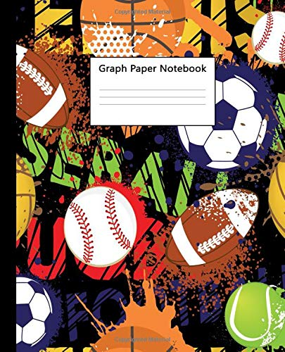 Graph Paper Notebook: Funky Ball Sport Quad Ruled 5 x 5 (.20'') Graphing Paper Composition Book for Math & Science Students, 5 Squares per Inch, Large - For Boys & Girls