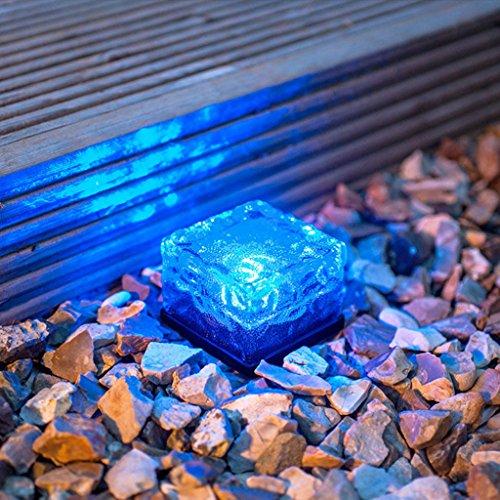 EiYao Solar Rasen Licht kreativ Glas Ice Cube Light Square unterirdisch Lichter Garten dekorative Stehleuchte (blaues Licht) (Glas-stehleuchte Blaue)
