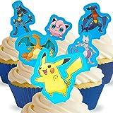 12 x Vorgeschnittene und Essbare Pokemon Aufrecht Stehende Kuchen Topper (Tortenaufleger, Bedruckte Oblaten, Oblatenaufleger)
