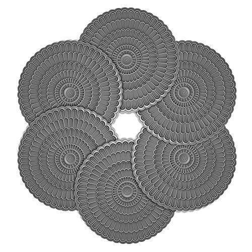 zanmini Lot de 6 Pièces Dessous de Verre Silicone Rond sous Verres Super Pratique Couleurs Décoratifs Gris (10 cm)