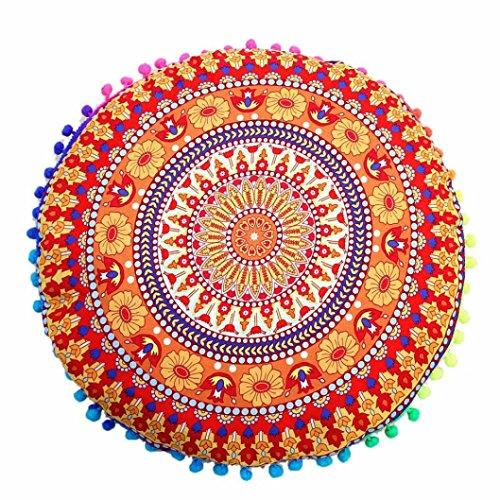 Indian Mandala Floor Pillows Round Bohemian Cushion Pillows Cover Case Cushions By Dragon (A) (Kissenbezug Round)