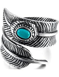 MunkiMix Acero Inoxidable Anillo Ring Turquesa Turquoise El Tono De Plata Negro Pluma Feather Hombre