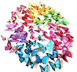 ElecMotive 72 Pcs 6 Packs Beautiful 3D Butterfly Wall Decals Removable DIY Home Decorations Art Decor Wall Stickers & Murals for Babys Bedroom TV Background Living Room (72 pcs in 6 Colours)
