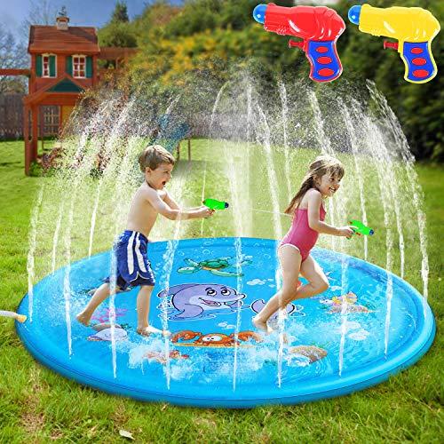 AILUKI Splash Pad Wasserspielzeug Spielmatte Outdoor Garten Splash Spielmatte für Baby Party Sprinkler und Splash Play Matte 170CM Spaß für Kinder Sommer 2 Bis 5 Jahre Alte Jungen und Mädchen
