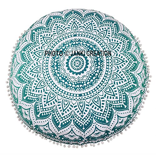 "Green ombere suelo puff redondo decorativo Mandala algodón cojín redondo diseño indio bohemio Mandala Pom Pom redondo sólo uno funda de cojín por ""Janki creación"" asiento decorativo puff"