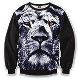 Pizoff Unisex Hip Hop Digital Print Sweatshirts mit Löwe 3D Muster Y1627-4-L