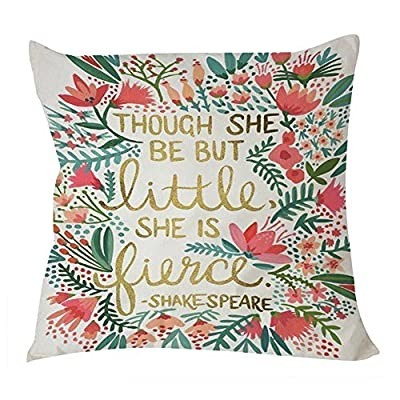 B Lyster shop Shake Speare Quote Though She Be but Little She Is Fierce W013 Cotton & Polyester Soft Zippered Cushion Throw Case Pillow Case Cover - low-cost UK light shop.