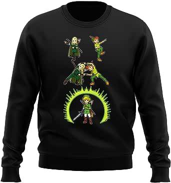 Okiwoki Pull Noir Parodie Zelda et Seigneur des Anneaux - Link, Peter Pan et Legolas l'elfe - Le Seigneur de la Fusion.(Sweatshirt de qualité supérieure - imprimé en France)