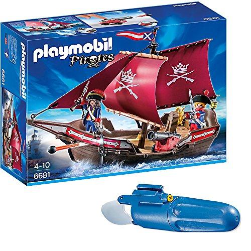 PLAYMOBIL® Piraten 2er Set 6681 7350 Soldaten-Kanonensegler + Unterwassermotor
