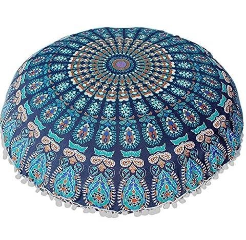Malloom Pillow Case,Indian Large Mandala Floor Pillows Round Bohemian Meditation Cushion Cover (Blue)