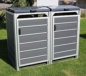 Prewood WPC Mülltonnenbox, Mülltonnenverkleidung für 2x 240l Mülltonne grau // 86x152x127 cm (LxBxH) // Gerätebox, Gartenbox & Mülltonneneinhausung