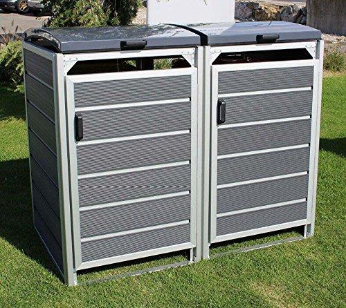Prewood WPC Mülltonnenbox, Mülltonnenverkleidung für 2x 120l Mülltonne grau // 70x136x113 cm (LxBxH) // Gerätebox, Gartenbox & Mülltonneneinhausung