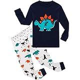 EULLA Pijama para niño, dos piezas, algodón, ropa de dormir infantil, diseño de dinosaurios excavadora
