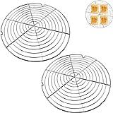HUYIWEI Lot de 2 grilles de refroidissement à gâteau rondes - Grille à gâteau pour un refroidissement uniforme et rapide - Dé