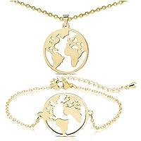 JAHEMU Gioielli di moda Collana Mappa del Mondo Bracciale Ciondolo Globo Acciaio Inossidabile World Map Bracelet…