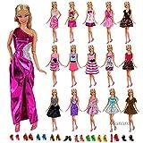 Miunana 12 piezas Vestido Fashion Falda Mini Vestir Fiesta Ropa Casual + 10 Zapatos Accesorios como Regalo Estilo al azar para Barbie Muñeca
