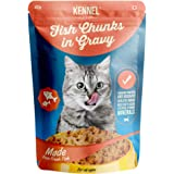 Kennel Kitchen Wet Cat Food for Adults and Kittens, Fish Chunks in Gravy, 12 Pouches (12 X 100 GMS)