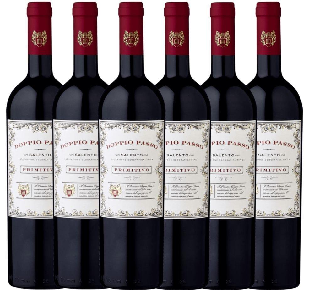 6er-Paket-Doppio-Passo-Primitivo-Salento-IGT-2018-CVCB-halbtrockener-Rotwein-mit-VINELLOweinausgieer-italienischer-Wein-aus-Apulien-6-x-075-Liter
