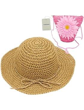 Sombrero de paja niños YOPINDO niñas sombrero monedero conjunto Sombrero de paja sol Floppy Summer Beach Cap con...