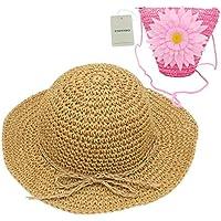 YOPINDO Sombrero de Paja niños niñas Sombrero Monedero Conjunto Sombrero de Paja Sol Floppy Summer Beach Cap con Bolso de Mano