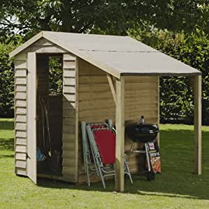 6 x 4 Overlap Pressure Treated Timber Shed with Lean-To, MAINLAND UK DELIVERY ONLY