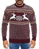 Maglione natalizio da uomo, a maniche lunghe, stile norvegese, collo rotondo Rosso vino (306) XXXX-Large