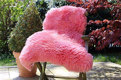 Echtes Lammfell Schaffell Rosa / Pink – 110-120cm – Premium Qualität – Alpenfell