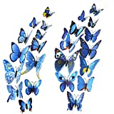 Mudder 3D Mariposas Adhesivas Pegatina para Decoración de Pared de Hogar, Azul, 24 Piezas