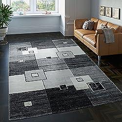 Paco Home Tapis Design Raffiné Carrelé Mèches Courtes Moucheté en Gris Crème Noir, Dimension:120x170 cm
