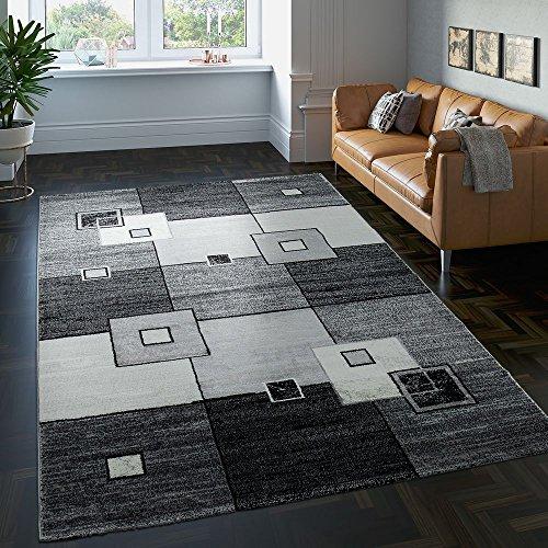 Tappeto di alto design quadrettato pelo corto grigio crema nero screziato, dimensione:160x230 cm