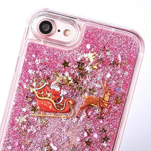 iPhone 5 Hülle Flüssig, iPhone SE Liquid Case, iPhone 5S PC Hart Hardcase Handyhülle, 5S Bling Glitter Glitzer Handy Hülle Etui Protective Case PC mit Fließend Liquid Flüssig Shinny Quicksand Tasche S Pink