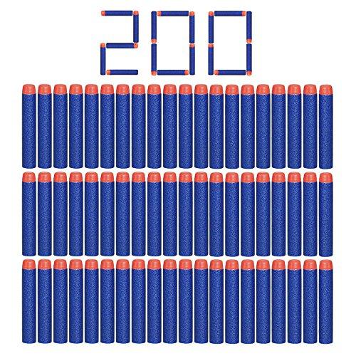 Dardos de espuma Camkey de 7,21 cm con cabeza redonda, para pistolas de dardos Nerf N-Strike Elite serie Blasters y otras pistolas de juguete para niños, color azul, juego de 200 unidades