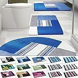 Design Badematte | rutschfester Badvorleger | viele Größen | zum Set kombinierbar | Öko-Tex 100 zertifiziert | viele Muster zur Auswahl | Quadrate - Blau (50 x 80 cm)