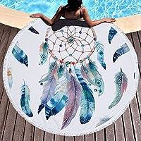 PYHQ Pluma india azul Ronda Toalla de playa Cubierta Tassel Wrap Accesorios de verano