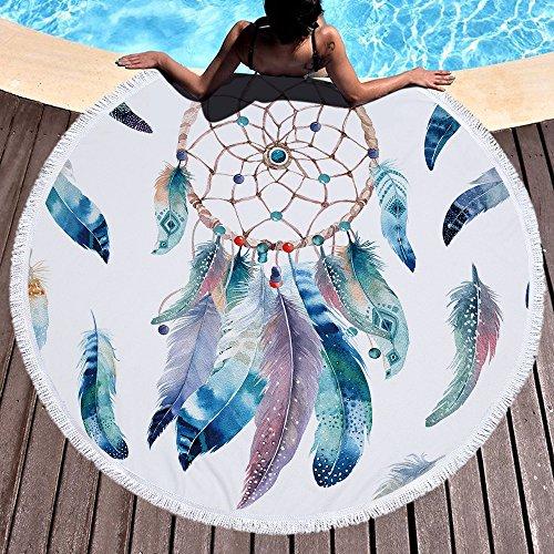 LIUNIAN Dreamcatcher Toalla de Playa Microfibra Toallas de Playa Redondas Grandes 150 cm x 150 cm 59 Pulgadas para Mujeres Niños Niñas niños