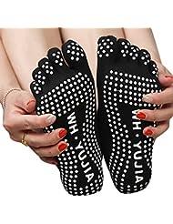Temporada Yoga algodón dedo cinco antideslizante calcetines dispensación cinco para las mujeres negro