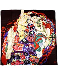 """Nella-Mode bezauberndes SEIDENTUCH Seidenschal nach Gustav Klimt """"Die Jungfrau"""" (rot) Schal Tuch 100% Seide Kunstdruck Jugendstil Malerei 85x85 cm"""