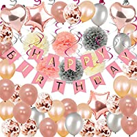 Toupons Party Decorations Rose Gold, 59Pcs Birthday Decorations for Girl Women with Happy Birthday Banner Helium Confetti Latex Balloons for 1th 13th 16th 18th 21st 30th 40th 50th Party Decor Pink