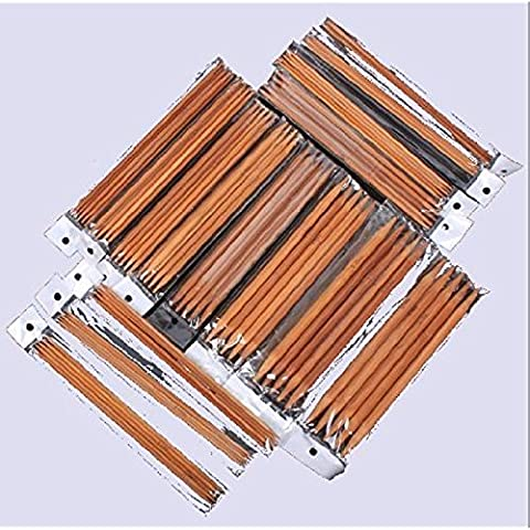 LanLan 5 Sets of 15 Sizes 8`` (20cm) Double Pointed Carbonized Bamboo Knitting Kits Needles Set (2.0mm -